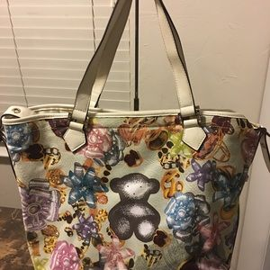 TOUS flowers canvas and leather handbag